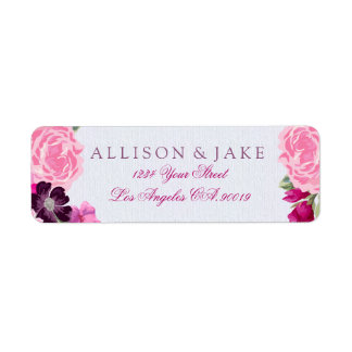 Fuchsia and Plum Floral Address Labels