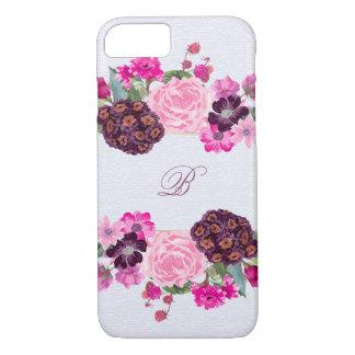 Fuchsia and Plum Floral Monogram iPhone 8/7 Case