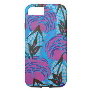 Fuchsia and purple art deco flowers iPhone 7 case