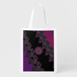 Fuchsia and Purple Fractal With Celtic Knot
