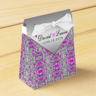 Fuchsia and Silver Wedding Favor Box Wedding Favour Box