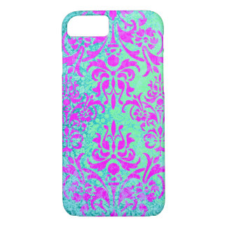 Fuchsia and Turquoise Grunge Vintage Damask iPhone 8/7 Case