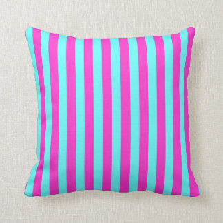 Fuchsia/Aqua Coloured Stripes Cushion