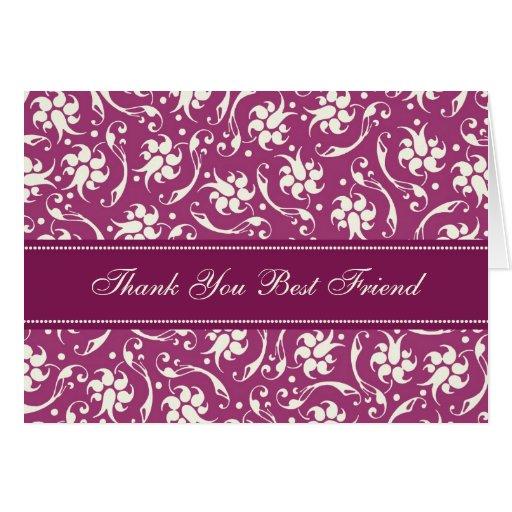 Fuchsia Best Friend Thank You Bridesmaid Card