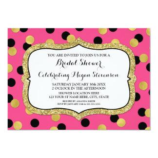 Fuchsia Black Gold Confetti Bridal Shower Card