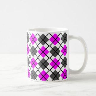 Fuchsia, Black, Grey on White Argyle Print Mug