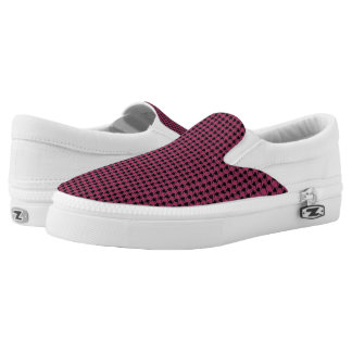 Fuchsia & Black Houndstooth Slip On Shoes