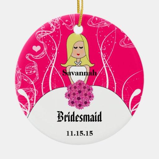Fuchsia Blonde Wedding Gown Bridesmaid Ornament