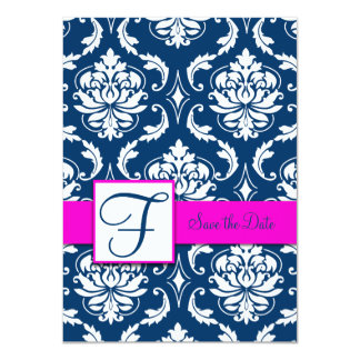 Fuchsia Blue Damask Save the Date Card