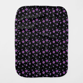 Fuchsia Bubbles Dots Black Baby Burp Cloth