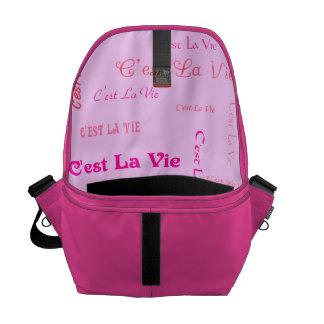 Fuchsia C'est La Vie Messenger Bag
