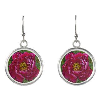 Fuchsia-coloured Peony drop earrings