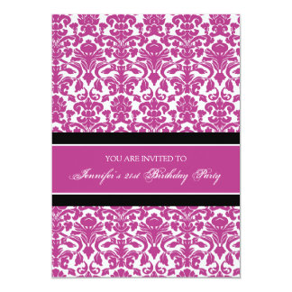 Fuchsia Damask 21st Birthday Party Invitations