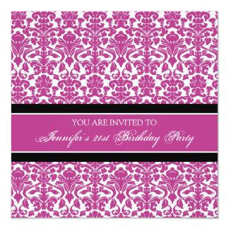 Fuchsia Damask 21st Birthday Party Invitations
