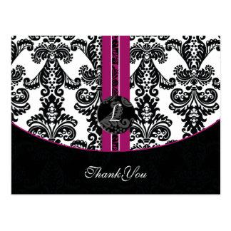 fuchsia damask ThankYou Cards Postcard