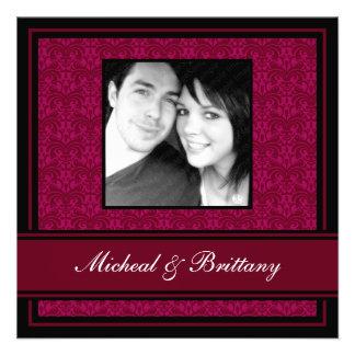 Fuchsia Damask Wedding Engagement Announcement