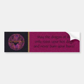 Fuchsia Dragon Medallion Bumper Sticker