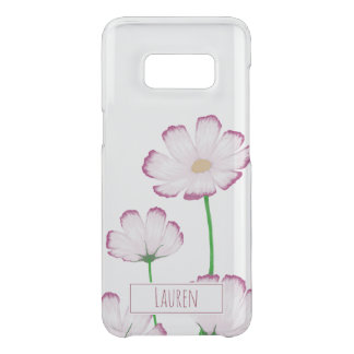 Fuchsia Edged Pink Cosmos with Boxed Name Uncommon Samsung Galaxy S8 Case
