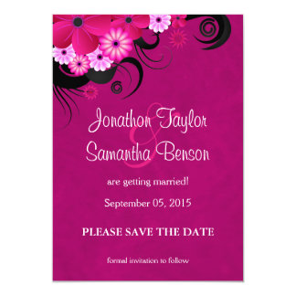 Fuchsia Floral Hibiscus Save The Date Announcement