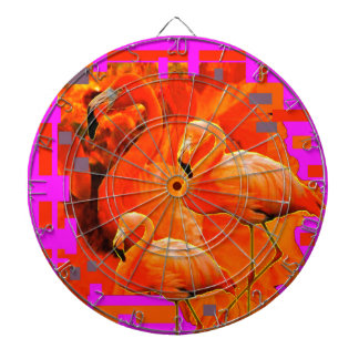FUCHSIA FLORIDA TROPICAL FLAMINGO FAMILY DARTBOARD
