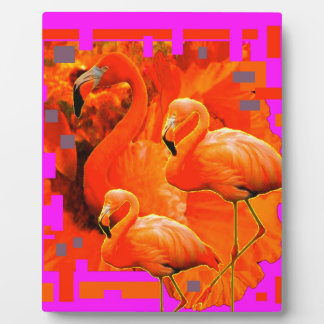 FUCHSIA FLORIDA TROPICAL FLAMINGO FAMILY PLAQUE