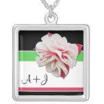 """Fuchsia Flower"" Initials Pink & Green Necklace"