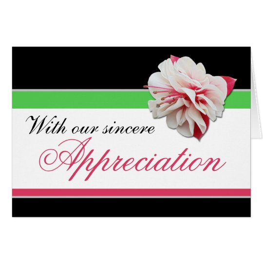 Fuchsia Flower Pink, Green & Black Thank You Card