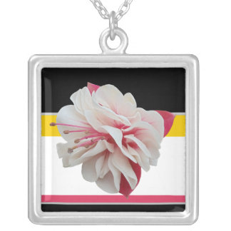 Fuchsia Flower Pink Yellow Black Necklace