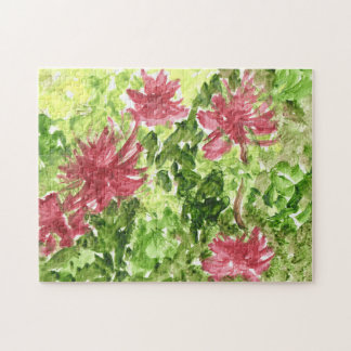 Fuchsia flowers against green grass puzzle