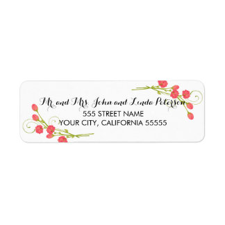 Fuchsia Garden Roses - Return Address Labels