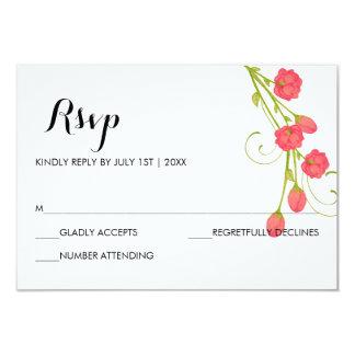 Fuchsia Garden Roses - RSVP Card 9 Cm X 13 Cm Invitation Card