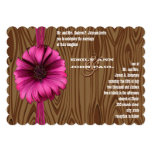 Fuchsia Gerber Daisy Wedding Invite 13 Cm X 18 Cm Invitation Card