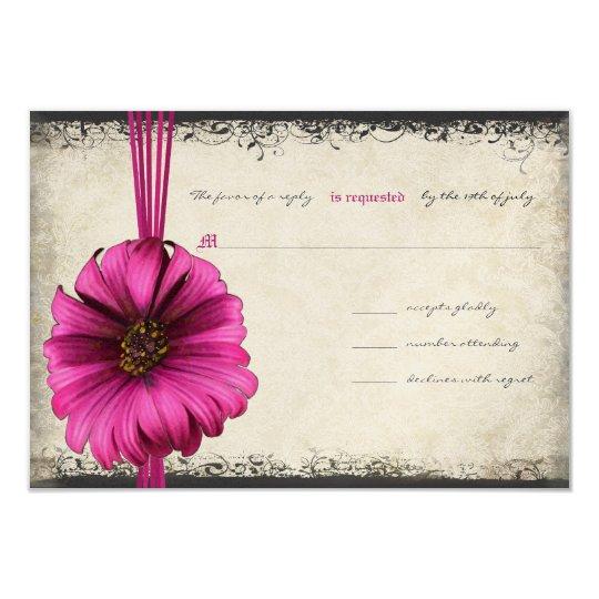 Fuchsia Gerber Daisy Wedding RSVP 9 Cm X 13 Cm Invitation Card