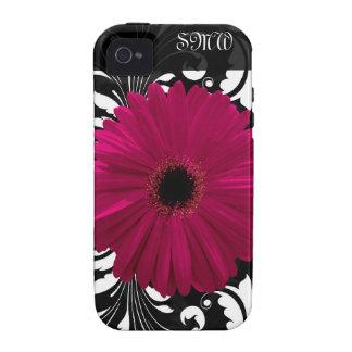 Fuchsia Gerbera Daisy with Black and White Swirl iPhone 4 Cases