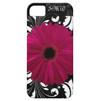 Fuchsia Gerbera Daisy with Black and White Swirl iPhone 5 Cases