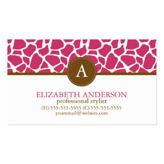 Fuchsia Giraffe Pattern Monogram Pack Of Standard Business Cards