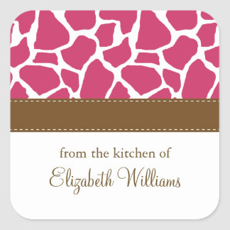 Fuchsia Giraffe Pattern Square Sticker