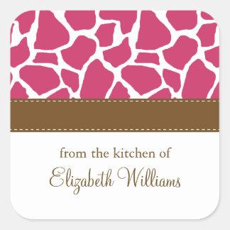 Fuchsia Giraffe Pattern Square Sticker
