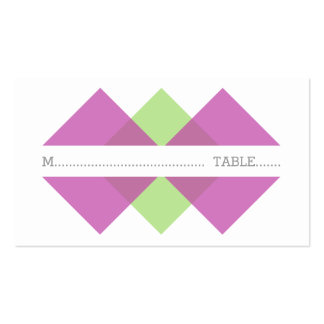 Fuchsia Green Geometric Triad Place Card Pack Of Standard Business Cards