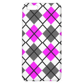 Fuchsia Grey, White and Black Argyle iPhone 4 Case