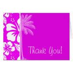 Fuchsia Hawaiian Tropical Hibiscus; Palm Note Card