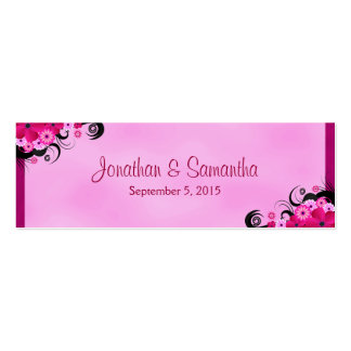 Fuchsia Hibiscus Floral Wedding Favor Favour Tags Double-Sided Mini Business Cards (Pack Of 20)