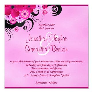 "Fuchsia Hibiscus Floral Wedding Invite 5.25 x 5.25 5.25"" Square Invitation Card"