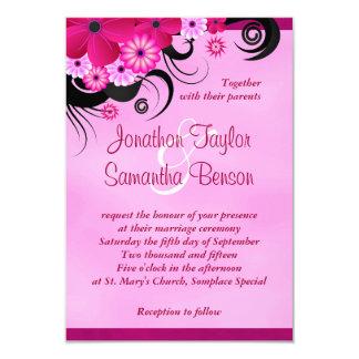 "Fuchsia Hibiscus Floral Wedding Invites 3.5 x 5 3.5"" X 5"" Invitation Card"