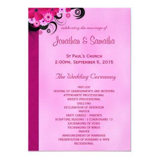 Fuchsia Hibiscus Floral Wedding Program Templates 13 Cm X 18 Cm Invitation Card
