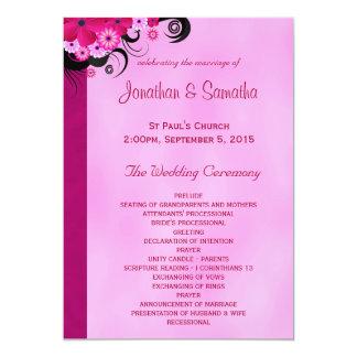 Fuchsia Hibiscus Floral Wedding Program Templates Personalized Invitation