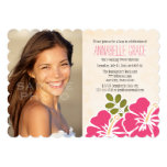 Fuchsia Hibiscus Hawaiian Luau Sweet 16 Photo 13 Cm X 18 Cm Invitation Card