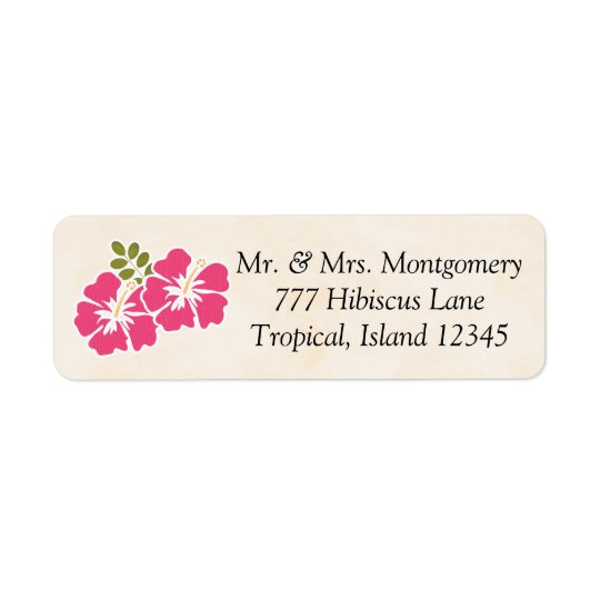 Fuchsia Hibiscus Tropical Themed Hawaiian Return Address Label