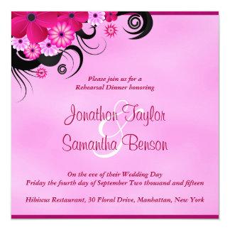 "Fuchsia Hibiscus Wedding Rehearsal Dinner Invites 5.25"" Square Invitation Card"