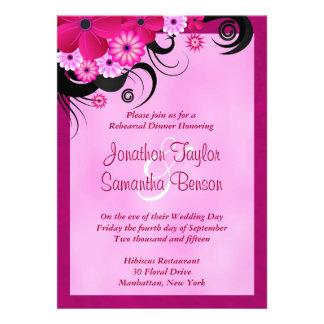 Fuchsia Hibiscus Wedding Rehearsal Dinner Invites Personalized Invites